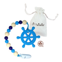 Lil Twinkies?? Blue Helm Teether with Pacifier Clip / Stylish Gum Soother / BPA-Free / Freezer Safe image here