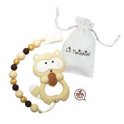 Lil Twinkies® Raccoon Teether with Pacifier Clip / Stylish Gum Soother / BPA Free / Freezer Safe  image here