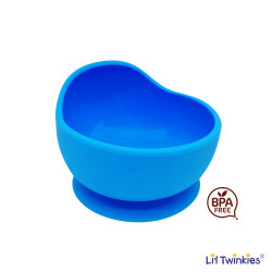 Lil Twinkies?? Anti-Slip Silicone Weaning Bowl / BPA Free / Sterilizer Safe (Blue Color) image here