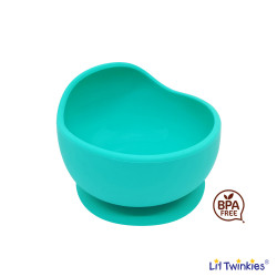 Lil Twinkies® Anti-Slip Silicone Weaning Bowl / BPA Free / Sterilizer Safe (Teal Color) image here