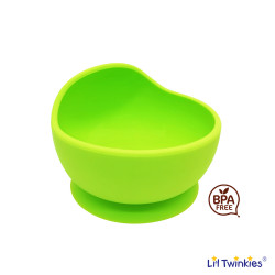 Lil Twinkies?? Anti-Slip Silicone Weaning Bowl / BPA Free / Sterilizer Safe (Green Color) image here