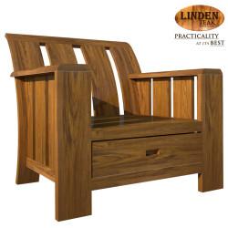 Handcrafted Gold Teak Minimalist Solid 1 Seater Sofa Chair (Gold Teak Series Indoor Design)  GT-SS-MINSOLSTR1 image here