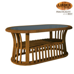 Handcrafted Gold Teak Basket Center Table with Glass Top (Gold Teak Series Indoor Design) image here