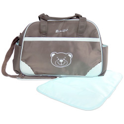 MIMIFLO 103 Diaper Bag (Brown/Blue) image here