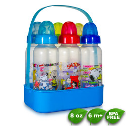 BPA FREE Peanuts Snoopy 8oz Feeding Bottles with Caddy 6pcs - Blue image here