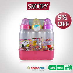 BPA FREE Peanuts Snoopy 8oz Feeding Bottles with Caddy 6pcs - Pink image here