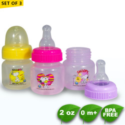 Set of 3 Snoopy 2oz Tinted Round Regular Feeding Bottle -  BPA Free image here