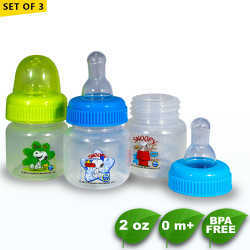 Set of 3 Snoopy 2oz Clear Round Regular Feeding Bottle -  BPA Free image here
