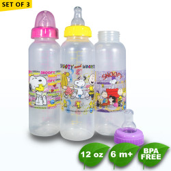 Set of 3 Snoopy 12oz Tinted Round Regular Feeding Bottle -  BPA Free image here