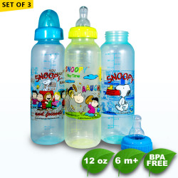 Set of 3 Snoopy 12oz Clear Round Regular Feeding Bottle -  BPA Free image here
