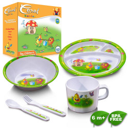 Coral Babies 5pc Meal Set - BPA FREE, green,CB 0824 image here