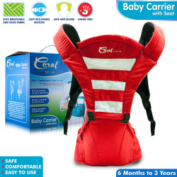 Coral Babies Baby Carrier with Seat - CB 035 Red and Gray image here