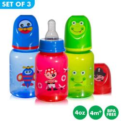 Set of 3 Coral Babies 4oz Tinted Bottle with Silicone Nipple - BPA FREE image here
