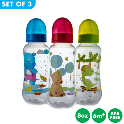 Set of 3 Coral Babies 8oz Clear Dotty Feeding Bottles - BPA FREE image here