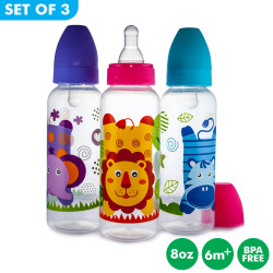 Set of 3 Coral Babies 8oz Clear Feeding Bottle with Silicone Nipple - BPA FREE image here