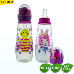 Set of 2 Coral Babies 10oz Feeding Bottle with Rattle Hood - BPA FREE image here