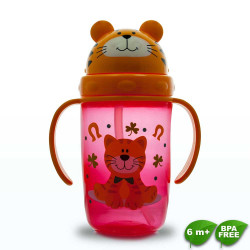 Coral Babies, Cup with Straw Lid - BPA FREE, Red, CB 4353-R image here