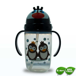 Coral Babies, Cup with Straw Lid - BPA FREE, black, CB 4353-B image here