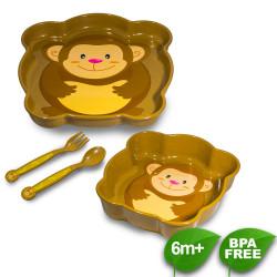 Coral Babies Character Feeding Set Cute Monkey - BPA FREE image here