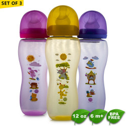 Coral Babies 12oz Tinted Feeding Bottles Set of 3 image here