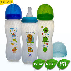 Coral Babies 12oz Clear Feeding Bottles Set of 3 image here