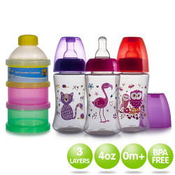 Coral Babies 4oz Feeding Bottle with 3 Layer Milk Powder Container image here