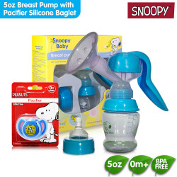 Snoopy Breast Pump with Pacifier with Silicone Baglet image here