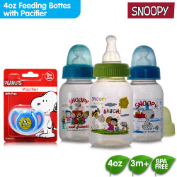 Snoopy 4oz Feeding Bottles with Pacifier with Silicone Baglet image here