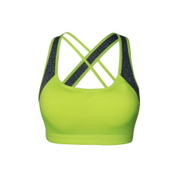 BIOFRESH CROSS STRAP SPORTS BRA NEON GREEN ULBR02 image here