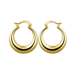 Treasure by B&D,030-A Plated Moon Shape Hoop Earrings,KZCE030-A image here