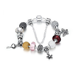 Treasure by B&D,H005-B Fine Colored Glass Stones Inlay Snake Chain Bracelet Bangle,PDRH005-B image here