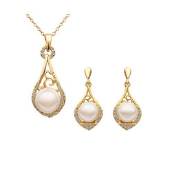 Treasure by B&D,S317 Plated Pearl Water Drop Shaped Necklace and Earrings Jewellery Se,LKN18KRGPS317 image here