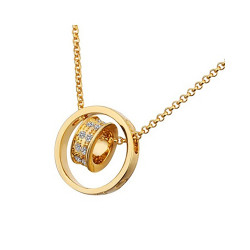 Treasure by B&D,Czech Drilling Double Rings Pendant Rolo Necklace,LKN18KRGPN592 image here