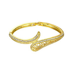 Treasure by B&D,Z068 Plated Hollow Carved Czech Drilling Bangle With Foldover Clasp,LKN18KRGPZ068 image here