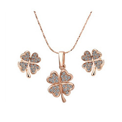 Treasure by B&D,S039 Delicate Clover Pendant Czech Drilling Necklace & Earrings Party Jewellery Set,LKN18KRGPS039 image here