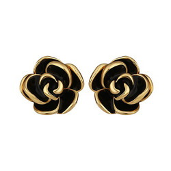 Treasure by B&D,E922 Plated Rose Shape Stud Earrings,LKN18KRGPE922 image here