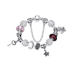 Treasure by B&D,H005-A Delicate Butterfly & Floral Tassel Bracelet With Glass Stones Inlay,PDRH005-A image here