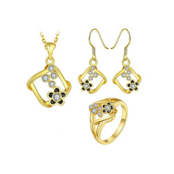 Treasure by B&D,S472-A Plated Geometric Shape Necklace Ring Earrings Set Czech Drilling Flower Inlay Jewellery Set,LKN18KRGPS472-A image here