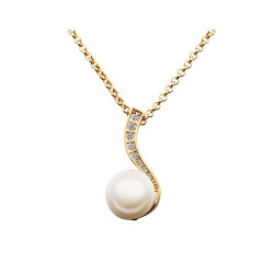 Treasure by B&D,N615 Cute Musical Note Shape Pearl & Zircon Inlayed Plated Necklace,LKN18KRGPN615 image here
