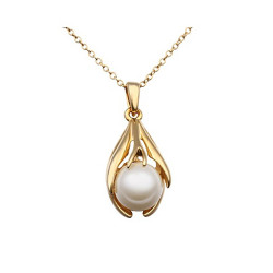 Treasure by B&D,N593 Plated with Pearl Inlayed Oval Pendant Necklace,LKN18KRGPN593 image here