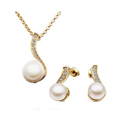 Treasure by B&D,S314 Plated Pearl Necklace Earrings Set & Czech Stones Pendant Necklace Party Jewellery,LKN18KRGPS314 image here