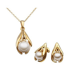 Treasure by B&D,S312 Artificial Pearl in Angel's Hands Pendant Necklace & Earrings Party Jewellery Set,LKN18KRGPS312 image here