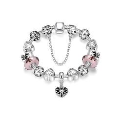 Treasure by B&D,H003 Charming Snake Chain Bracelet Heart-shape Plated Beads Bangle,PDRH003 image here