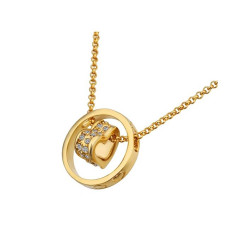 Treasure by B&D,N591 Plated Beads Chain Heart & Ring Pendant Necklace,LKN18KRGPN591 image here