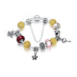 Treasure by B&D,H005-C Silver Plated Snake Chain Bracelet With Plated & Colored Glass Stones,PDRH005-C image here