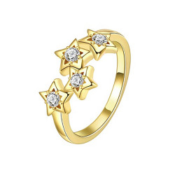 Treasure by B&D,R163-B Stars Engaved Plated Zircon Inlay Ring Size 8,KZCR163-B-8 image here