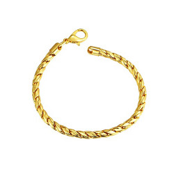 Treasure by B&D,B087 Plated Lobster Claw Clasp Snake Chain Bracelet,LKN18KRGPB087 image here