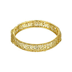 Treasure by B&D,Z027-A Luxurious Plated Hollow Carved Round Zircon Embellished Bangle,KZCZ027-A image here