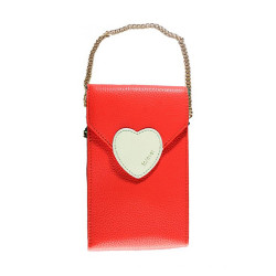 Treasure by B&D,Women PU Sling Bag Heart Lock Design,Red,Heart Lock Sling Bag Red image here
