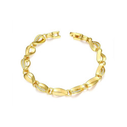 Treasure by B&D,B011-A Plated Twist type hollow Chain Zircon Bracelet,KZCB011-A image here